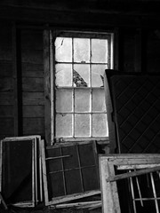 looking in (Lady Goshen) Tags: wood old windows blackandwhite bw dusty glass barn frames vermont brokenpanes lemaxfarm
