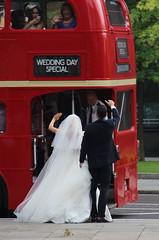 Wedding Day (debbyboop16) Tags: wedding red white bus london saint bride pauls special londres churchyard weddingday bridegroom doubledecker