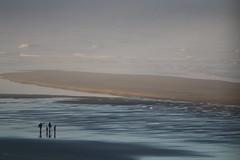 Morning Light (raggi di sole) Tags: ocean morning light sea usa beach water misty oregon landscape sand flat pacific newport vista figures