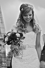 BRIDE AND BOUQUET (simongavin83) Tags: street flowers wedding people blackandwhite woman streets girl beautiful smiling lady female walking happy person bride scotland pretty veil dress candid gorgeous streetphotography monotone stunning bonnie bouquet weddings persons weddingdress weddingphotography brigodoon southayrshire alloway