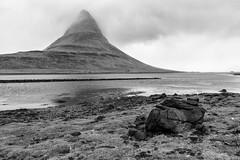 Kirkjufell (Kayla Stevenson) Tags: ocean white mist black beach water fog iceland hills peninsula kirkjufell snfellsnes