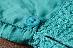 Cloth/Textile (fred_v) Tags: macromondays bleu blue bouton color couleur manche tissu turquoise clothtextile explore