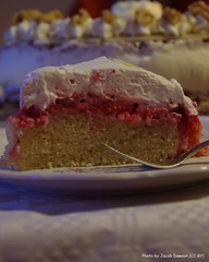 Raspberry Cake (bjacobdawson) Tags: cake dessert filling food fork frosting plate raspberry serving single slice thin topping wafer whipped cream white chocolate
