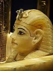Closeup of Alabaster lid of one of King Tutankhamun's canopic jars New Kingdom 18th Dynasty Egypt 1332-1323 BCE (mharrsch) Tags: king pharaoh tutankhamun newkingdom 18thdynasty egypt 14thcenturybce ancient gold shrine gravegoods funeraryart canopicjar calcite tomb
