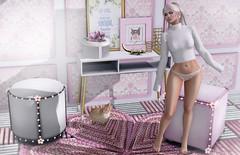 Pretty in pink (Alexa Maravilla/Spunknbrains) Tags: fabiameshhair cosmopolitan rustrepublic pukerainbows glitzz birdy sayo disopera secondlife sl pink bedroom furniture indoors spaces homeinterior people
