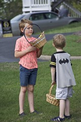 Trick or treat? (Pejasar) Tags: easter boys cousins grandkids holiday easterbaskets trickortreat batman cape