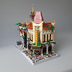 Mutant Lab front 3 (Zilmrud) Tags: moc lego steampunk mutant laboratorium lab palace cinema brick bank swebrick ruins san victoria modular house building steam punk