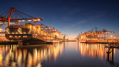 Hamburg Harbour lights (Stefan Sellmer) Tags: wow sunset waltershof water reflections outdoor bluesky lights longexposure hamburg bluehour terminalburchardkai twilight terminalhamburg lightson seascape ships germany harbour seaside deutschland de