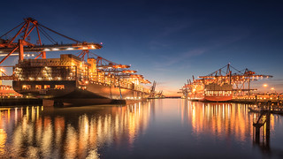 Hamburg Harbour lights