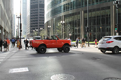 Four By Four (Flint Foto Factory) Tags: chicago illinois urban city spring april 2017 downtown loop tuesday evening afternoon rushhour 1971 1972 international harvester scoutii scout orange color traffic convertible motion inmotion sports sport utility vehicle originally manufactured fortwayne ftwayne indiana franklin monroe intersection urbanjungle