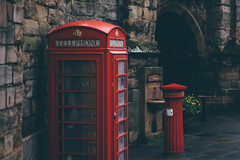 Red (freyavev) Tags: red telephone telephonebox telephonebooth britain uk rainy royalmail warwick warwickshire greatbritain england vsco niftyfifty mikasniftyfifty 50mm canon canon700d