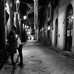 A Kiss and a Cigarette (Something Sighted) Tags: florence firenze italy italia italie streetphotography night scènederue lesoir noiretblanc blackandwhite square