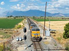 Union Pacific coal train pulls out of Utah Valley (matt c paulson) Tags: railfan utah railroad train locomotive freight manifest rails trains tracks wanderlust outdoors travel