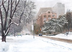 Snowing Downtown Toronto #6 (light and shadow by pen) Tags: watercolour snowing downtown toronto landscape art