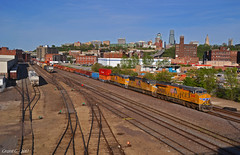 """Westbound Intermodal in Kansas City, MO (""""Righteous"""" Grant G.) Tags: up union pacific railroad railway locomotive train trains west westbound intermodal freight container double stack doublestack kansas city missouri"""