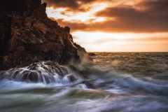 The Edge of the Day (Augmented Reality Images (Getty Contributor)) Tags: canon cliffs clouds colours dusk landscape leefilters longexposure morayfirth portknockie rocks scotland sunset water waves