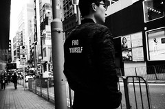 (Russell Siu) Tags: black white bw street candid monochrome searching identity pursuing sehnsucht desire longing hongkong central teen man