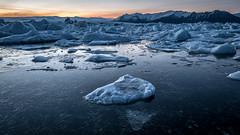 Sunset at the Glacier Lagoon - Iceland - Travel photography (Giuseppe Milo (www.pixael.com)) Tags: iceland blue landscape sunset travel nature water dusk cold glacier lagoon orange ice easternregion is onsale