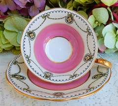 Antique Aynsley Porcelain Cup & Saucer ~ Pink ~ Cameo ~ Gold (Donna's Collectables) Tags: antique aynsley porcelain cup saucer ~ pink cameo gold