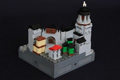 Summer Joust Prize: Faerdham Port (soccersnyderi) Tags: lego moc micro castle medieval fortress summer joust lighthouse port harbor dock ship gate town houses creation