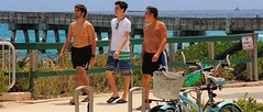 Just walking and talking at the beach in flip-flops (LarryJay99 ) Tags: dude urban happyfencefriday pier dudes guys peekingnips backs profile barfuss blackguys people bikeracks facialhair peekingpits ocean man stairs flipflops shirtless nipples glasses ilobsteritflickr faces fence bikes barefeet legs railfence men s rail navels atlanticocean male seaside canon60d talking guy barefoot flickr canonefs18135mmf3556is