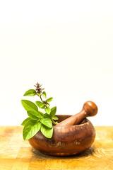 Basil sprig (dianemerchant) Tags: basil herb mortarandpestle food garnish