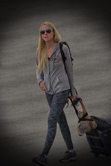 Moving On (swong95765) Tags: woman female lady blonde vignette walking away