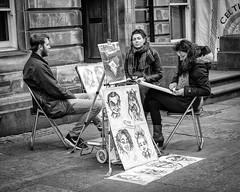Street Artist Edinburgh Royal Mile. (James- Burke) Tags: artists blackandwhite bw candid candidphotography caricatures edinburgh monochrome people royalmile scotland street streetartists streetphotography