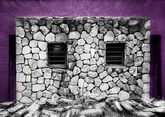 Bungalow (Daniela 59) Tags: sliderssunday hss bungalow wall stonework stonewall purple windows 100x2017 100xthe2017edition image37100 daanviljoengamepark namibia windowwednesdays danielaruppel
