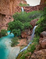 Double Falls with Mooney in the background (BX's Photos) Tags: havasu havasupai waterfalls havasucreek turquoise coloradoriver springtime havasucanyon redrockcanyon