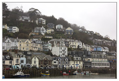 Pretty even in the Rain (Audrey A Jackson) Tags: canon60d looe cornwall harbour buildings homes sea boats water trees