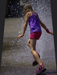 The Sprint (swong95765) Tags: girl run water wet fountain play kid dash distorted