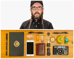 Jason Diptych (J Trav) Tags: persona portrait selfportrait diptych whatsinmybag theitemswecarry showusthecontentsofyourbag thingsorganizedneatly braids neighbs glasses black