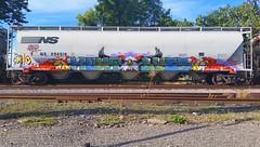 HUNT & LYES (BLACK VOMIT) Tags: art car train painting graffiti ol paint eagle smoke south grain rail dirty spray smoking mc dos crew creatures mayhem hopper freight cru hunt ssp wh lyes magestic e2e grainer mcult mayhemcru