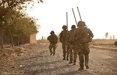 Soldiers With 5 Rifles on Patrol in Afghanistan (Defence Images) Tags: uk afghanistan man male soldier army military free afghan british op operation campaign defense defence patrol forces armed personnel herrick helmand hussars helmandprovince campbastion qrh queensroyal nonidentifiable 5rifles