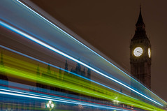 Westminster (Dave the bass) Tags: bridge london tower clock westminster night nikon parliament bigben lighttrail d90 elizabethtower