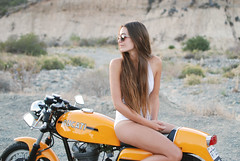 '1973' (southcount) Tags: summer italy white girl yellow vintage cafe model italian ride jose babe motorbike riding bikini motorcycle thin ducati 1973 caferacer swimwear racer desmo gallina angelique scarantino josegallina angeliquescarantino