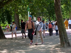 London Tourists (Waterford_Man) Tags: street shirtless summer people male london candid tourists topless shorts