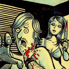 Neckin' Party (Tom Bagley) Tags: canada calgary illustration ink weird noir bra cartoon eerie creepy moustache gore horror blinds pulp macabre cleavage stab ooky tombagley brushwork bloodyknife