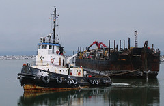 Tugging the barge (Natimages) Tags: winter cold water tide qubec tugboat limited barge stlawrenceriver fa31mm cacouna groscacouna