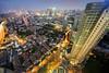 Shanghai Residential Neighborhoods (Tony Shi Photos) Tags: china city urban night landscape shanghai district g chinese hilton wideangle down scene jingan 上海 lookingdown 上海市 ity 希尔顿 静安区 weideangle