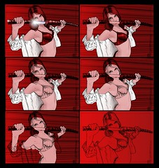 201409262333 (lindenb) Tags: portrait art face illustration sketch artwork drawing retrato femme manga gimp dessin sword fille visage onedrawingaday