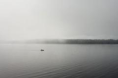 The wake-up call (Megan Colleen) Tags: morning vacation mist lake ny water silhouette fog clouds dawn kayak horizon adirondacks ripples pisecolake