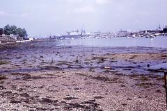 Forton Lake 1972 (mr broddy) Tags: bridge seaweed mud crane shingle aircraftcarrier gosport portsmouthharbour hmseagle priddyshard fortonlake