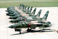 "A Republic F-105F ""Thunderchief"" (foreground) and nine F-105Ds of the U.S. Air Force Reserve 465th Tactical Fighter Squadron, 507th Tactical Fighter Group (aeroman3) Tags: tinkerairforcebase unitedstatesofamericausa oklahomaok"