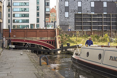 Canal Boat on Rochdale Canal (Michael Goldrei (microsketch)) Tags: street urban st manchester photography boat canal photo photographer photos 14 country piccadilly basin september sept barge rochdale 2014 manc