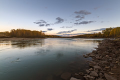 Smoky River Sunset II (Blue Trail Photography) Tags: autumn sunset sky canada color colour tree fall nature river evening dusk alberta smoky grandeprairie canfor