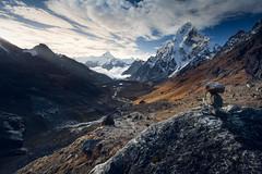 mini cairn (markpaulandrews) Tags: nepal mountains sunrise trek landscape rocks hiking pass hike september mount valley himalayas piles amadablam chola sagarmatha kumbu 2013 markpaulandrews