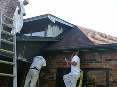 Prep work on exterior painting in Benbrook TX 76126