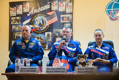 Expedition 41 Press Conference (201409240015hq) (NASA Johnson) Tags: kazakhstan pressconference baikonur cosmonauthotel roscosmos barrywilmore alexandersamokutyaev expedition41 expedition41preflight elenaserova